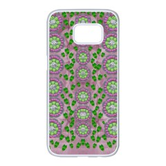 Ivy And  Holm Oak With Fantasy Meditative Orchid Flowers Samsung Galaxy S7 Edge White Seamless Case by pepitasart