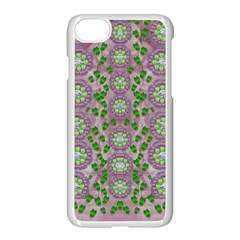 Ivy And  Holm Oak With Fantasy Meditative Orchid Flowers Apple Iphone 7 Seamless Case (white) by pepitasart