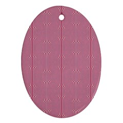 Mod Twist Stripes Red And White Ornament (oval) by BrightVibesDesign