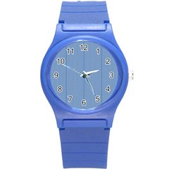 Mod Twist Stripes Blue And White Round Plastic Sport Watch (s) by BrightVibesDesign