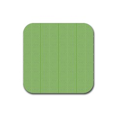 Mod Twist Stripes Green And White Rubber Coaster (square)  by BrightVibesDesign