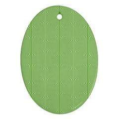 Mod Twist Stripes Green And White Oval Ornament (two Sides) by BrightVibesDesign