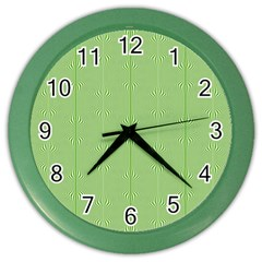 Mod Twist Stripes Green And White Color Wall Clocks by BrightVibesDesign