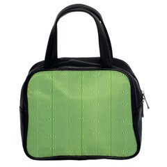 Mod Twist Stripes Green And White Classic Handbags (2 Sides) by BrightVibesDesign
