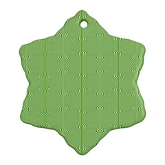 Mod Twist Stripes Green And White Snowflake Ornament (two Sides) by BrightVibesDesign
