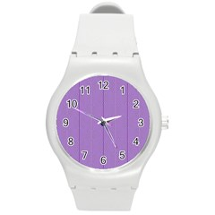 Mod Twist Stripes Purple And White Round Plastic Sport Watch (m) by BrightVibesDesign
