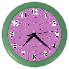 Mod Twist Stripes Pink And White Color Wall Clocks by BrightVibesDesign