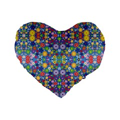 Colorful Flowers Standard 16  Premium Heart Shape Cushions