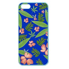 Leaves On Blue Apple Seamless Iphone 5 Case (color) by LoolyElzayat