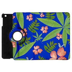 Leaves On Blue Apple Ipad Mini Flip 360 Case by LoolyElzayat