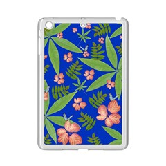 Leaves On Blue Ipad Mini 2 Enamel Coated Cases by LoolyElzayat