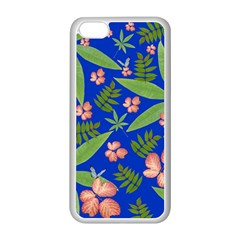 Leaves On Blue Apple Iphone 5c Seamless Case (white) by LoolyElzayat