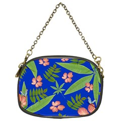 Leaves On Blue Chain Purses (one Side)  by LoolyElzayat