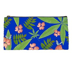 Leaves On Blue Pencil Cases by LoolyElzayat