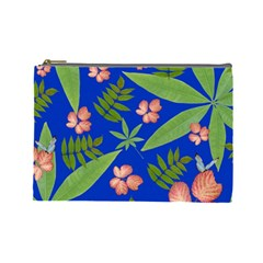 Leaves On Blue Cosmetic Bag (large)