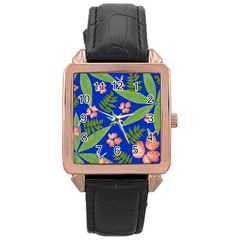 Leaves On Blue Rose Gold Leather Watch  by LoolyElzayat
