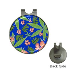 Leaves On Blue Hat Clips With Golf Markers by LoolyElzayat
