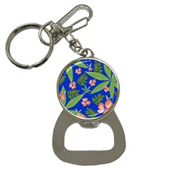 Leaves On Blue Bottle Opener Key Chains by LoolyElzayat