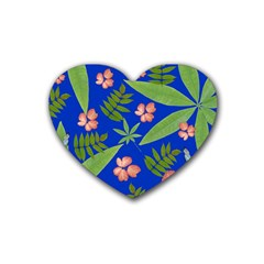 Leaves On Blue Heart Coaster (4 Pack)  by LoolyElzayat