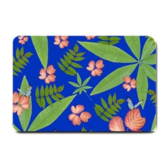 Leaves On Blue Small Doormat  by LoolyElzayat