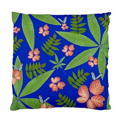 Leaves On Blue Standard Cushion Case (two Sides) by LoolyElzayat