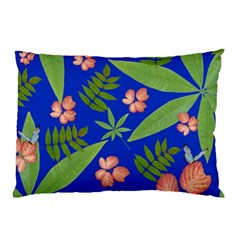 Leaves On Blue Pillow Case by LoolyElzayat