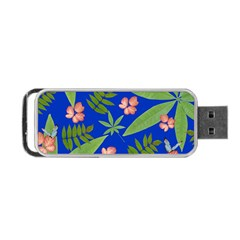 Leaves On Blue Portable Usb Flash (two Sides) by LoolyElzayat