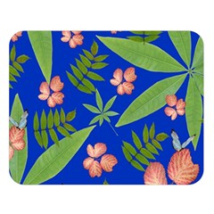 Leaves On Blue Double Sided Flano Blanket (large)  by LoolyElzayat