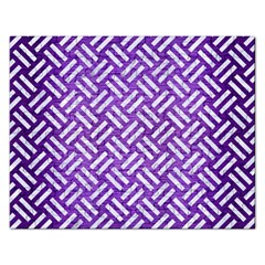 Woven2 White Marble & Purple Brushed Metal Rectangular Jigsaw Puzzl by trendistuff