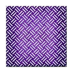 Woven2 White Marble & Purple Brushed Metal Face Towel by trendistuff