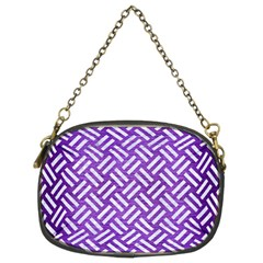 Woven2 White Marble & Purple Brushed Metal Chain Purses (two Sides)  by trendistuff