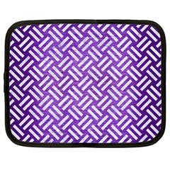 Woven2 White Marble & Purple Brushed Metal Netbook Case (xl)  by trendistuff