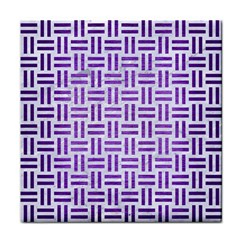 Woven1 White Marble & Purple Brushed Metal (r) Tile Coasters by trendistuff