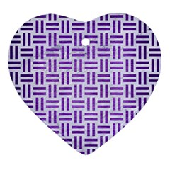 Woven1 White Marble & Purple Brushed Metal (r) Ornament (heart) by trendistuff