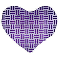 Woven1 White Marble & Purple Brushed Metal (r) Large 19  Premium Heart Shape Cushions by trendistuff