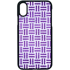 Woven1 White Marble & Purple Brushed Metal (r) Apple Iphone X Seamless Case (black)
