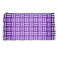 Woven1 White Marble & Purple Brushed Metal Pencil Cases by trendistuff