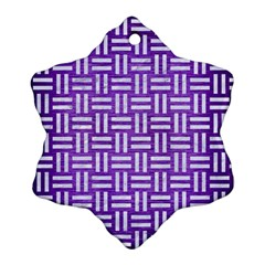 Woven1 White Marble & Purple Brushed Metal Snowflake Ornament (two Sides)