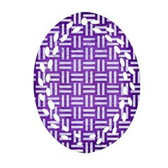 Woven1 White Marble & Purple Brushed Metal Oval Filigree Ornament (two Sides) by trendistuff