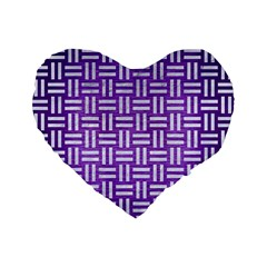 Woven1 White Marble & Purple Brushed Metal Standard 16  Premium Flano Heart Shape Cushions by trendistuff