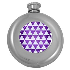 Triangle3 White Marble & Purple Brushed Metal Round Hip Flask (5 Oz) by trendistuff