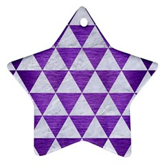 Triangle3 White Marble & Purple Brushed Metal Star Ornament (two Sides) by trendistuff