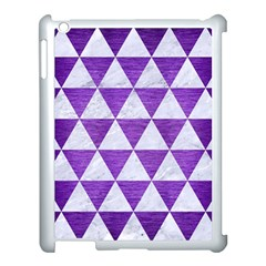 Triangle3 White Marble & Purple Brushed Metal Apple Ipad 3/4 Case (white) by trendistuff