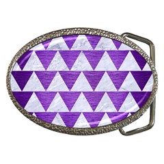 Triangle2 White Marble & Purple Brushed Metal Belt Buckles by trendistuff