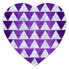 Triangle2 White Marble & Purple Brushed Metal Jigsaw Puzzle (heart) by trendistuff