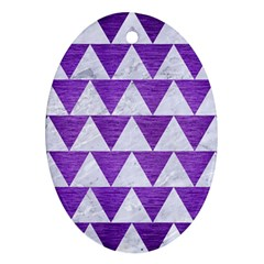 Triangle2 White Marble & Purple Brushed Metal Oval Ornament (two Sides) by trendistuff