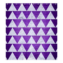 Triangle2 White Marble & Purple Brushed Metal Shower Curtain 66  X 72  (large)