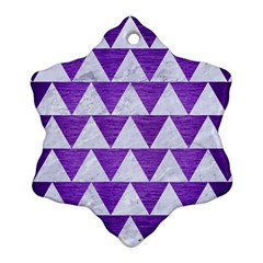 Triangle2 White Marble & Purple Brushed Metal Ornament (snowflake) by trendistuff