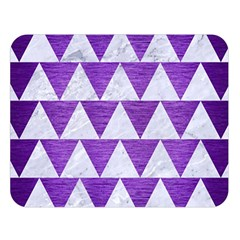 Triangle2 White Marble & Purple Brushed Metal Double Sided Flano Blanket (large)  by trendistuff