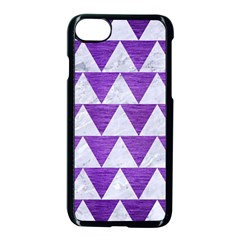 Triangle2 White Marble & Purple Brushed Metal Apple Iphone 8 Seamless Case (black) by trendistuff